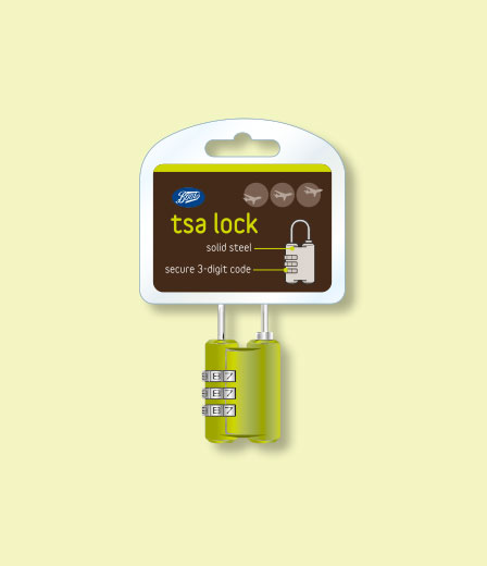 Packaging Boots Travel Basics TSA Lock