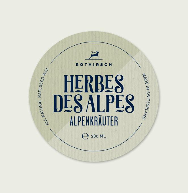 Etikette Kerzen Rothirsch Herbes des Alpes